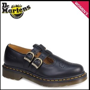 Dr Martens black leather double strap Mary Janes